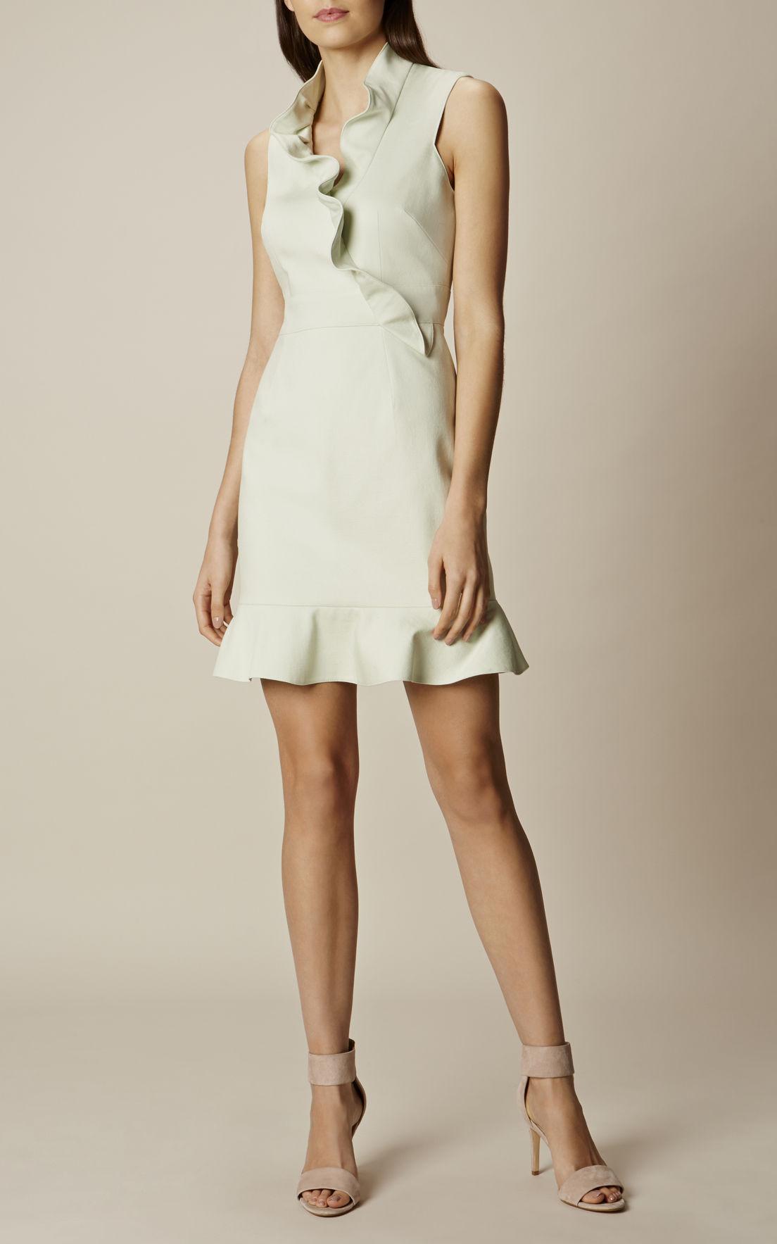 karen-millen_ruffle-mini-dress-pale-green